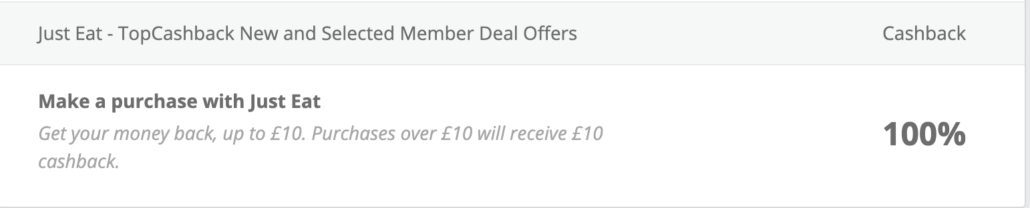 £10 Cashback image just eat
